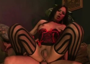 Sensational American brunette crystal set beauty take sexy stockings loves hardcore buttfuck