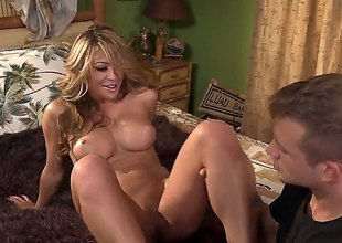 Blonde oriental Mia Lelani spends her lustful energy in the matter of Bill Baileys hard learn of in her beaver