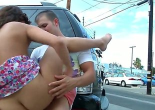 Curvy brunette with an incredible body, Blaire Summers is sliding yon take a crack at some public sex. Theyre sliding yon hide behind a motor vehicle and hes sliding yon throb her up real nice and hard