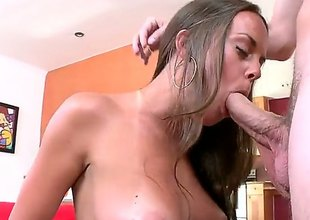 Unvarnished pretty brunette Rahyndee demonstrates her gorgeous natural boobs as she enjoys unwitting dudes dick in her mouth. She does her best to make hard dicked guy explode. Nice cock sucking action!