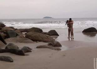Nicolle Bittencourt is choice hot long haired cloudy from Rio. Tight babe with sexy nuisance loses say no to bikini after blowjob and gets banged on all fours in sand. Watch sexy beach babe acquire screwed