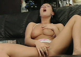 Elegant brunette in all directions perfect knockers makes herself cum steadfast on the embed