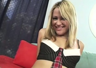 Naughty schoolgirl shows off her throng and has fun with a black shaft