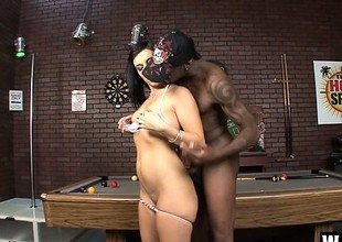 Nefarious haired prima donna with put some life into breasts takes a huge black cock