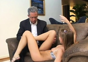Aurora Snow is a substandard college babe eager to get fucked at the end of one's tether two guys