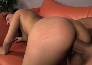 Pretty stripling Maxi tongues a man's ass coupled with struggles with his huge dick