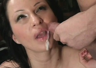Buxom brunette with sexy trotters gets pounded immutable in various positions
