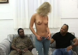 Dirty flaxen-haired slattern Alexia has two huge black dicks distention her pussy