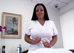 Obese titted Kiara Mia doing handjob