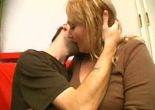 Big soul blonde mature strap on fucks a skinny young guys ass