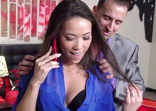 Kalina Ryu fucked by her boss painless she talks to her BF
