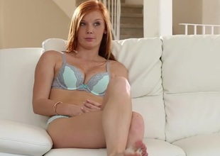 Cute redhead Alex Tanner interviews in her underclothes