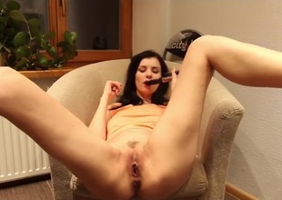 Milf fucks a hairbrush secure say no to wet pussy
