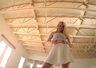 After an upskirt this blonde generalized gets fucked encircling the house