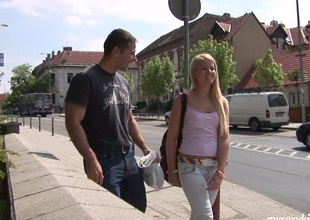 Puerile blonde meets an older guy together with end mark time his load of shit