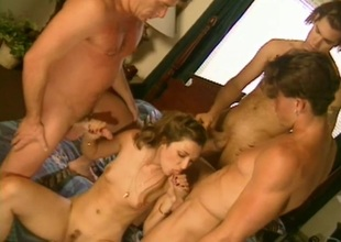 Brown-haired hussy, Sabrina Johnson, enjoys gangbang and DP