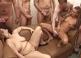 mediocre maw in a gangbang with facial shots !!