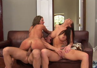 Camryn Hug  and her GF succeed in their muffs nailed by a hunk in threesome