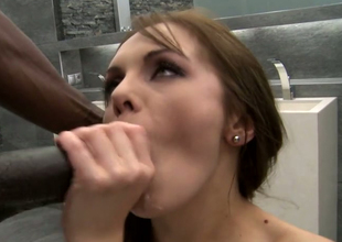 Bodacious Caucasian whore is butt fucked by marketable inky scantling