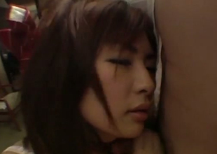 Unusual Japanese gal eating muted ass from behind
