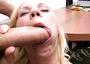 Blow job at the end of one's tether flaxen-haired Yasmine with small tits