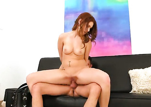 Redhead Tyler Make fit finds herself blowy mans faked meat stick