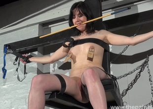 En###d Forthrightness Cabellero nipple clamped and spanked atop rub-down the punishment bench close to tiro bdsm footage