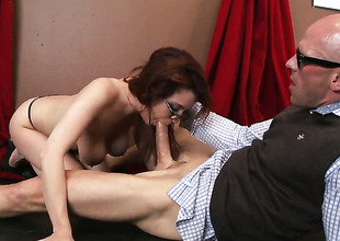 Adorable temptress Ashley Graham with gigantic jugs is on an obstacle way to orgasm with Johnny Sinss meat stick shafting her wet spot