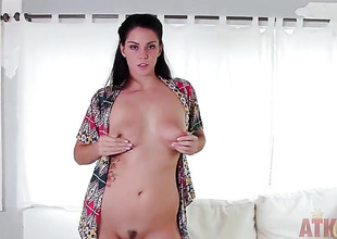 Tattoos asian Alison Tylor with bubbly ass and smooth bush masturbates to turning-point in solo action