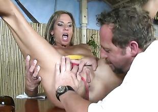 Peaches puts her soft lips on guys throbbing man corporeality