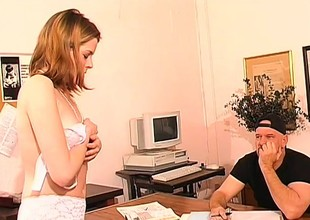 Sexy blonde Miss Lonelyhearts gets fucked by her roasting boss in all directions from over the desk