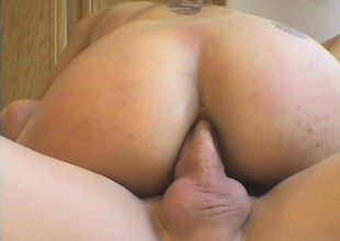 Latina bitch with massive fake Bristols gets the brush irritant fucked deeply