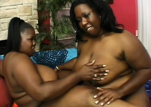 Heavy ebony cougars pleasing many times other's fiery pussies with sex toys