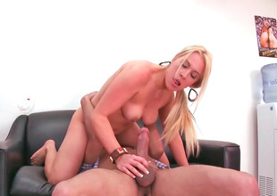 Unpredictable intensify blonde Jaime rides a long and thick dick