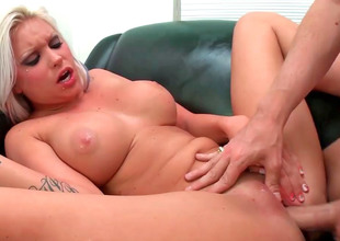 Chubby titted blonde Deadra Dee groans while unrefined fucked hard