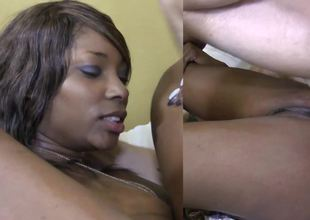 Black woman is taking in a big hard white dick in be transferred to interracial video