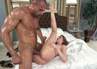A hot euro girl is covered with oil and then she is getting fucked